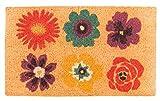 Faba Home Kokos Fußmatte Kokosvelour Schmutzfang, Blumengarten, sehr robust, wetterfeste Türmatte, Fußabtreter 70 x 45 x 2 cm (+/-2cm)