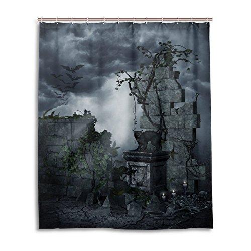 Dusche 152,4x 182,9cm Gothic Grabstein schwarz Katze Dark Bat Wolken Nacht Art Polyester-Schimmelfest-Badezimmer Vorhang ()