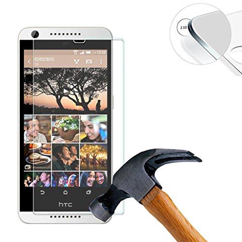 Lusee 2 X Pack Panzerglasfolie für HTC Desire 626 Tempered Glass Hartglas Schutzfolie Folie Bildschirmschutz 9H (Nur den flachen Teil abdecken)