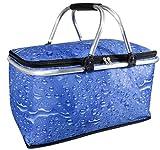 Kühl korb Farbe blau Wassertropfendesign Aluminiumbeschichtung Picknickkorb Einkaufskorkob