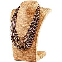 lumanuby collar retro Gem exagerado collar de personalidad de la moda de las mujeres de Bohemia Gotas de agua nuevo multi–capa con cuentas collar de perlas Jersey collar joyería accesorios