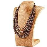 Lumanuby Collier rétro avec de la personnalité Mode pour femme Bohême Gouttes d'eauCouches de perles Collier de perles Collier Bijoux Accessoires