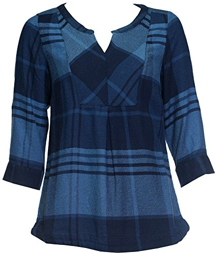 ex-bonmarche-blue-check-top-size-16