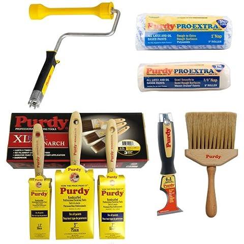 Purdy - Set per pitturare e decorare composto da spazzole, raschietto, pennelli e rulli senza griglia
