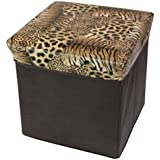 Jaz Deals Multi-Utility Printed Cube Folding Stool Seat Box with Storage (Brown)