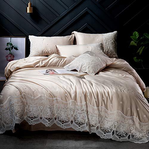 Yuexinye 4 Stück Heimtextilien gewaschen Seide Bettwäsche Set Bettbezug flach/Spannbetttuch Kissenbezüge Queen King Size,6,Queen ausgestattetes Bettlaken -