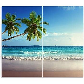 Herd-Abdeckplatte Glas Ceranfeld-Abdeckung Deko Strand Seychellen 60x52 cm