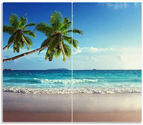 Wallario Herdabdeckplatte/Spritzschutz aus Glas, 2-teilig, 60x52cm, für Ceran- und Induktionsherde, Sandstrand auf Den Seychellen - Urlaub unter Palmen