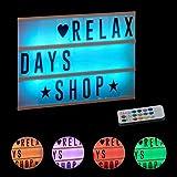 Relaxdays Lightbox mit Farbwechsel, Leuchtkasten, 85 Buchstaben & Symbole, 3 Zeilen, Lichtbox...