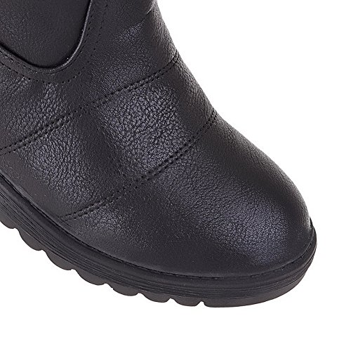 VogueZone009 Damen Rein Ziehen Auf Niedriger Absatz Stiefel mit Beschlagene Strass Schwarz
