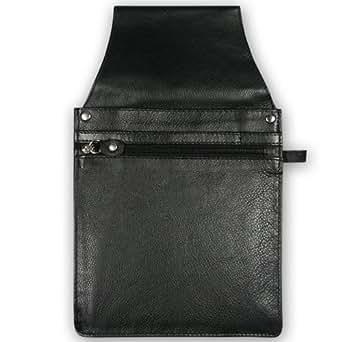 Kellner-Gürteltasche 6, schwarz, Vollrindleder, Doppelnaht, Reißverschlussfach