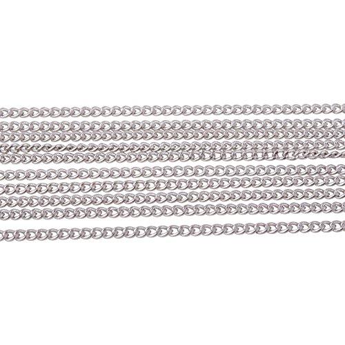 pandahall Elite 5 Yard Nickelfrei Messing Twist Curb Kette Groesse 1.5x1x0.35mm Oval Fuer 16 Feet Schmuck Machen Kette Platinum