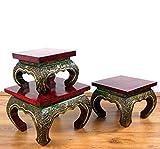 Asia Wohnstudio Asiatischer Opiumtisch mit Glasmosaikverzierungen, Beistelltisch aus Massivholz der Marke, asiatischer Couchtisch, Nachttisch, Massivholz Möbel, (24cm)