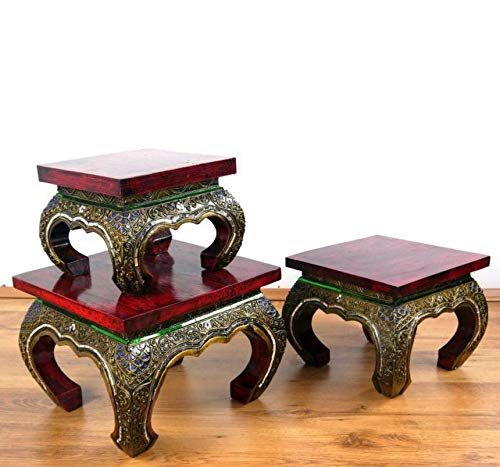Asia Wohnstudio Asiatischer Opiumtisch mit Glasmosaikverzierungen, Beistelltisch aus Massivholz der Marke, asiatischer Couchtisch, Nachttisch, Massivholz Möbel, (30cm)
