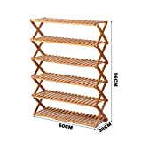 Schuhregal YNN 6-Schicht Bambus Einfache Multi-Layer-Schuh Multi-Funktions-staubdicht Holzklapp Haushalt Shoe Rack Racks (Größe : 60*96cm)