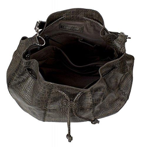 FREDsBRUDER Croco x Cross 117-04Femme Sac à bandoulière en cuir 38x 34x 12cm Beige - dark taupe