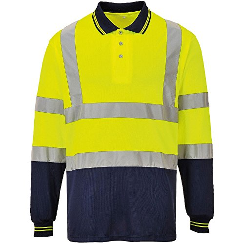Portwest Mens Hi Visibility Two Tone Light Long Sleeve Work Polo Shirt -