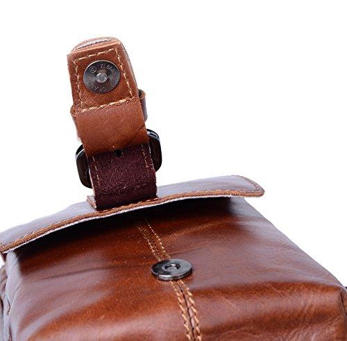 Genda 2Archer Mini Bolso de Hombro del Bolso del Fanny del Bolso de la Correa de Cuero (15.5cm * 7cm * 21cm)