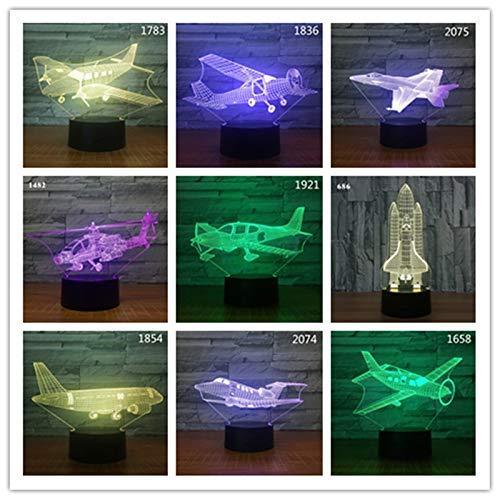 Alle Flugzeuge formten Nachtlichtflugzeugtischlampenkindjungen-Geburtstagsgeschenkfarbänderungsillusions-Tropfentransportgeschenk
