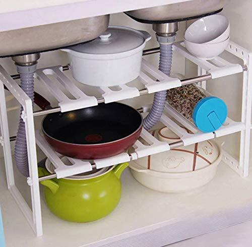 KAMROSE Under Sink Caddy Rack Storage Organiser Shelf Unit Adjustable  Shelves Cabinet Extendable Storage Stainless Steel