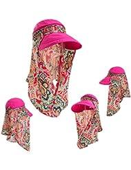 sombrero de la pesca La Sra sol del verano visera cubrió el rostro impreso sombrero de playa bohemio gran sombrero de ala ancha sol