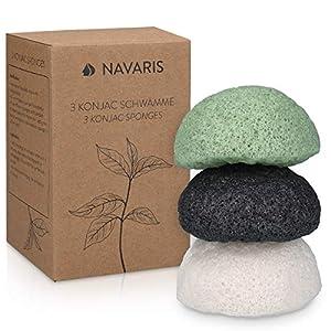 Navaris Set de 3x esponja de limpieza facial Konjac – Esponjas exfoliantes para todo tipo de piel – 100% natural vegana…