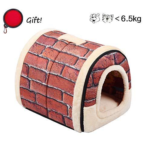 Enko cuccia/lettino per cane gatto da interno, portatile e pieghevole, elegante e comoda, per uso in ambienti interni, per cani e gatti. (medium, red)