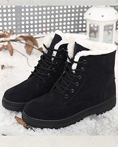 Minetom Donna Autunno Inverno Lace Up Pelliccia Neve Stivali Snow Boots Stivali Cavaliere Sneaker Moda Nero
