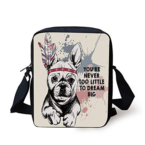 Abstract,Animal Pub Dog with Tribal Feathers and Inspirational Quote Print,Black White Pink and Lilac Print Kids Crossbody Messenger Bag Purse -