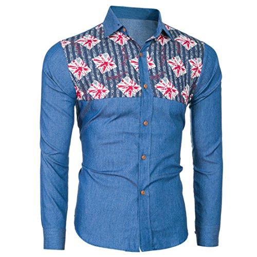 Men's Boutique UK Flag Printed Long Sleeved Denim Shirts Dark Blue