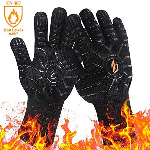 HOMEKOKO 2er Set Finger - Grillhandschuhe hitzebeständig bis 500 Grad Silikonbeschichtet Ofenhandschuhe Schnittfestigkeit Backhandschuhe Schwarz XL