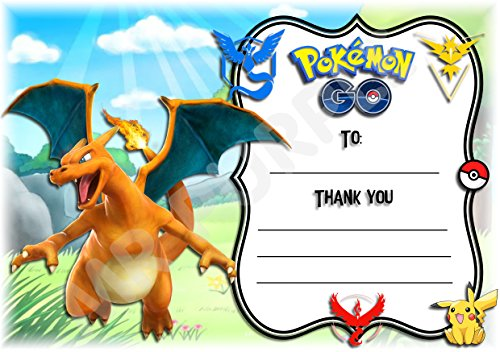 Pokemon Thank You For Coming Geburtstag Party Karten - Charizard Design - Party Supplies/Zubehör (12 Stück A6 Thank You Karten) WITHOUT Envelopes