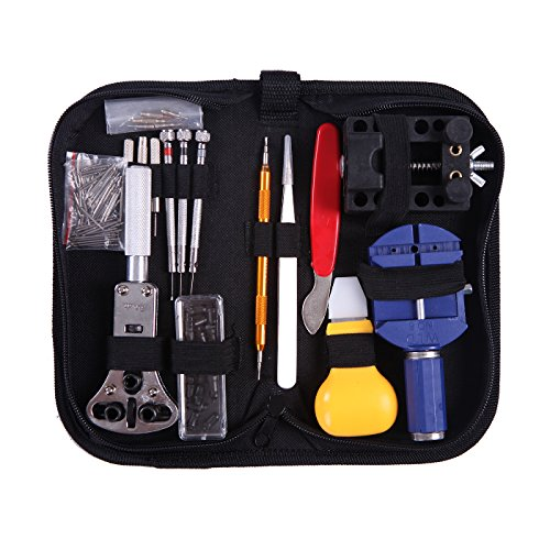 hde-watch-repair-tool-kit-opener-band-adjustment-link-remover-spring-bar-with-carrying-case-147-pc-s