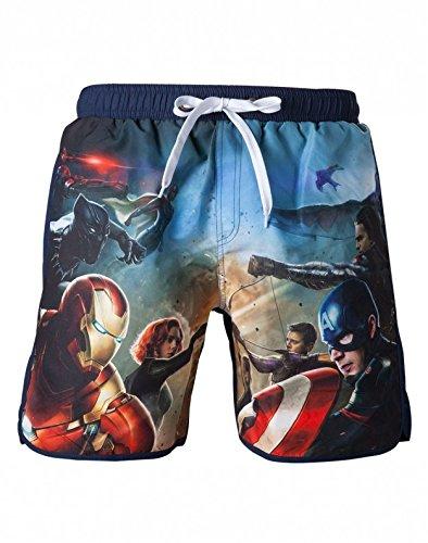 Captain america Marvel zwembroek-Blauw Met Op Voorzijde Avengers Print-Maat M
