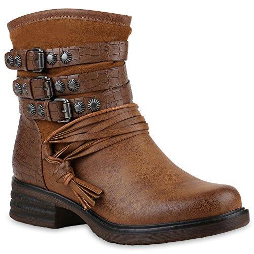 Stiefelparadies Damen Stiefeletten Nieten Biker Boots Gefütterte Stiefel Leder-Optik Schuhe Strass Schnallen Zipper Übergrößen Cut Outs Fransen Flandell Braun