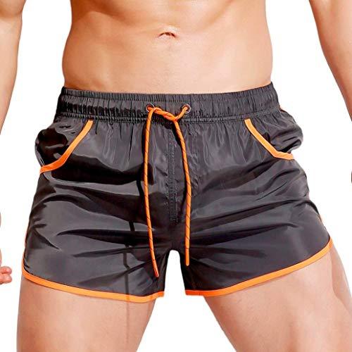KPILP Herren Boxer Boxershorts Unterwäsche Sportswear Breathable Badehose Hosen Bademode Shorts Slim Wear Bikini Badeanzug Schwarz ( Grau,L
