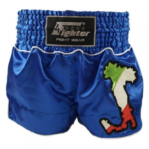 4Fighter Muay Thai Shorts National Italien AZZURO im Design des National-Trikots, Größe:S