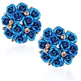 YouBella Blue Gold-Plated Rose Shape Stud Earring For Women