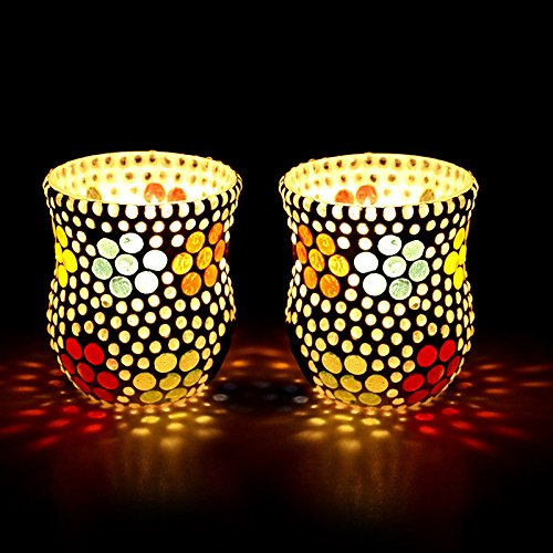 EarthenMetal Handcrafted Polka Design Mosaic Tealight Holder (Candle Light Holder)- Set of 2