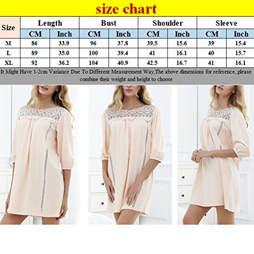 Zhhlinyuan Womens Loose Casual Cotton Pajamas Fashion Adult Lace Round neck Sleep Skirt Pastel orange