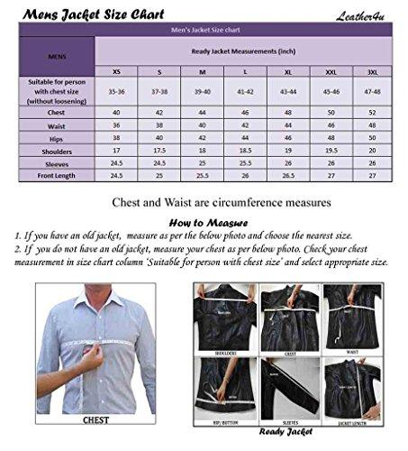 Leather4u Chaqueta de cuero para hombre, piel de vaca, Negro KL767 L