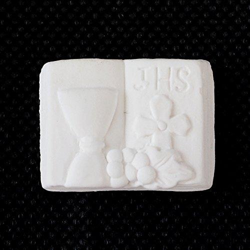 Dlm26174 (kit 24 pezzi) gessetti libro con calice prima comunione segnaposto confettata fai da te bomboniera