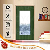 Aboygo Winter thick curtain, Dust proof Thicken Prevent Loss Thermal Screen Reduce Noise Foldable Windproof For Living room, Patio door Green W80xH220cm