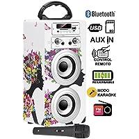 DYNASONIC - Altavoz Bluetooth Portatil con modo Karaoke, Radio FM y Lector USB SD (Modelo 8)