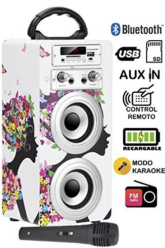 DYNASONIC - Altavoz Bluetooth Portatil con Modo Karaoke, Radio FM y Lector...
