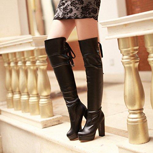 Mee Shoes Damen reizvoll chunky heel Plateau Langschaft Stiefel Schwarz