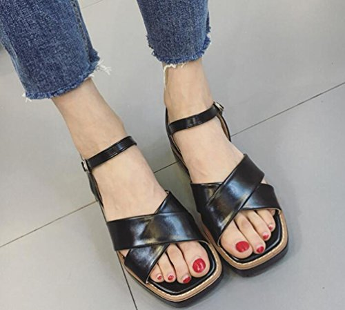 Wedge Casual Open Toe Knöchelriemen Gürtelschnalle Rom Sandalen Hochzeit Damen Schuhe EU Größe 35-39 Black