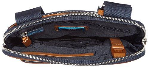 Piquadro CA1358LK Borsello, Collezione Link, in Pelle e Tessuto, Blu Blu/Cuoio