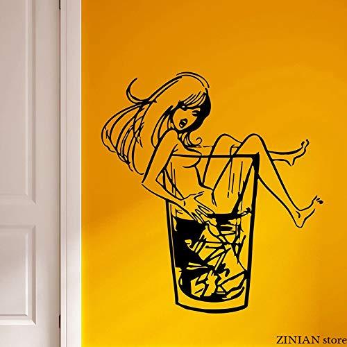 woyaofal Calcomanías de Pared para Chica Whisky en Las Rocas Pegatina de Pared para Discoteca Fiesta Vinilo extraíble Mural de Arte para Dormitorio Adolescente 42x45 cm