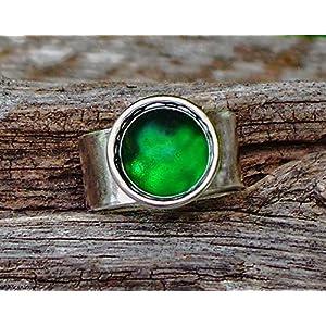 Bottled Up Designs Aufbereiteter Weinlese-grüner Bierflasche-Glasedelstein-justierbarer Ring